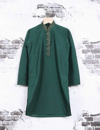 Green printed party wear kurta suit