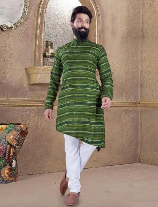 Green printed pattern kurta suit