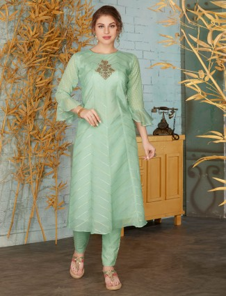Green punjabi pant suit in cotton