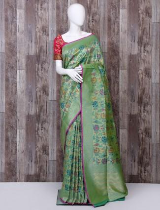 Green pure banarasi silk saree for wedding