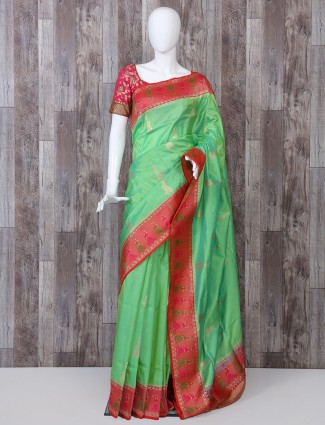 Green pure banarasi silk saree for wedding function