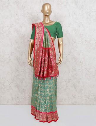 Green pure banarasi silk saree for wedding functions