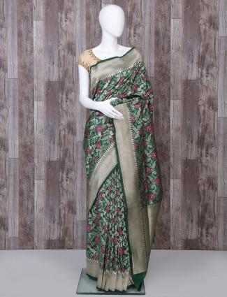 Green pure banarasi silk woven saree for reception function