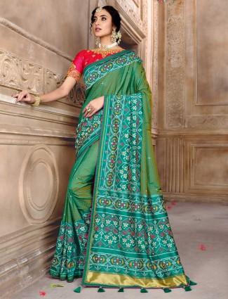 Green pure patola silk dhupchhav wedding saree