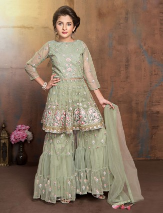 Green quarter sleeve festive wear sharara suit
