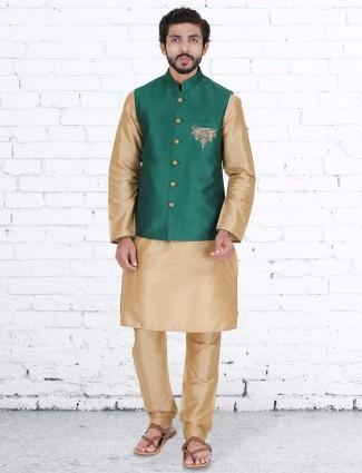 Green raw silk classy waistcoat set