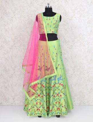 Green raw silk festive wear lehenga choli