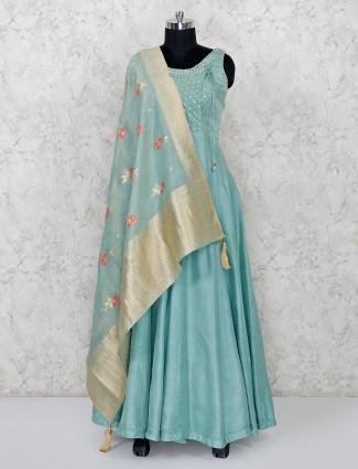 Green raw silk floor length anarkali suit for wedding