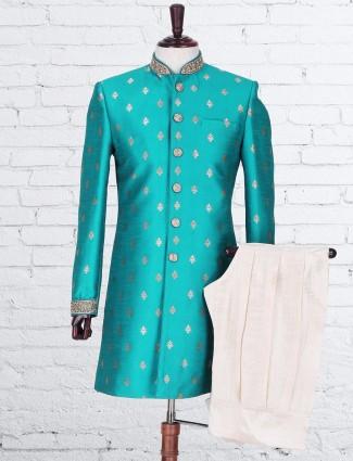 Green raw silk indo western