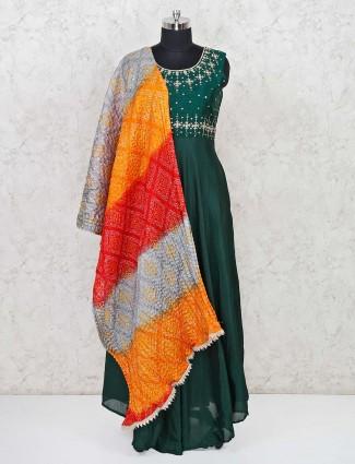 Green raw silk wedding function anarkali suit