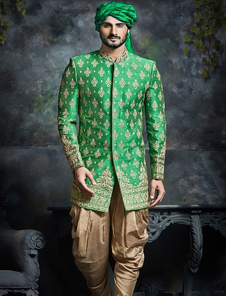 Green raw silk wedding wear indo western