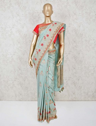 Green ready made blouse saree in pashmina silk for wedding