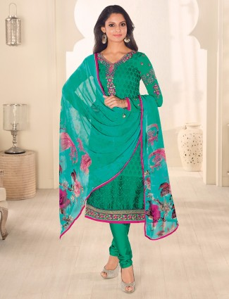 Green ready made georgette salwar suit