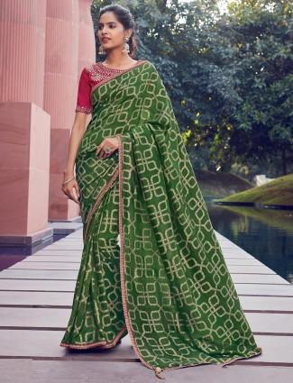 Green saree for festive in cotton silk