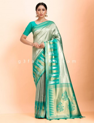 Green saree in art kanjivaram silk