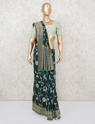 Green saree in muga silk