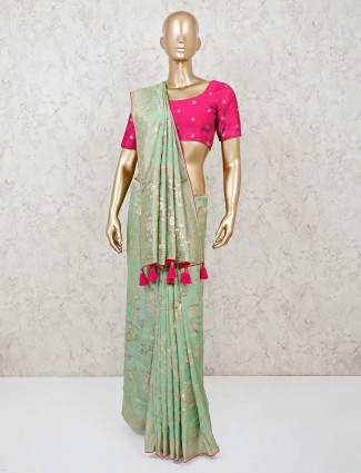 Green saree in muga silk fabric