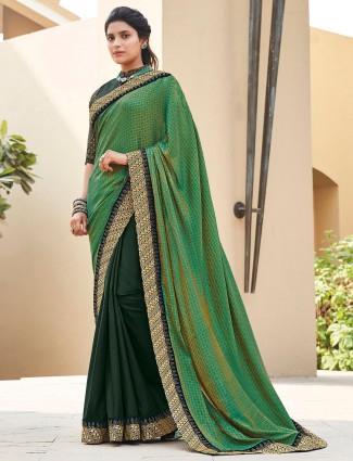 Green satin half and half saree for parties