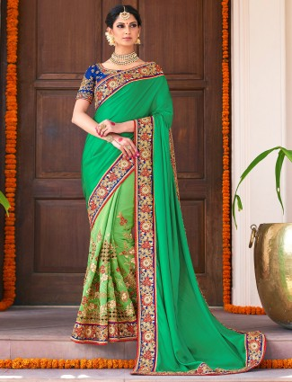 Green satin silk half and half saree