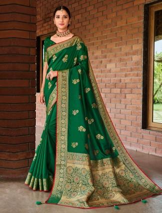 Green semi silk saree for wedding occasions