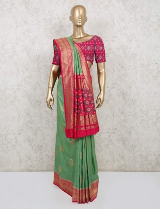 Green semi silk saree in wedding wear