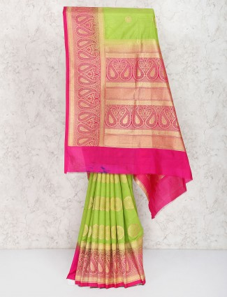 Green semi silk sari
