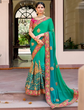 Green shaded satin wedding wear saree