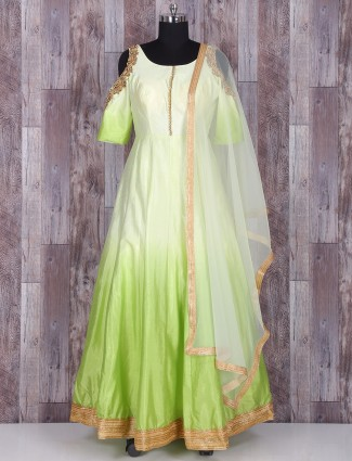 Green shaded silk anarkali suit