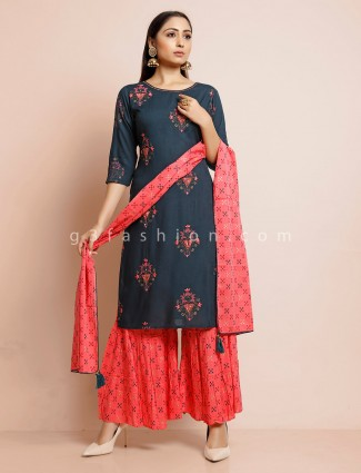 Green sharara suit for festive in cotton