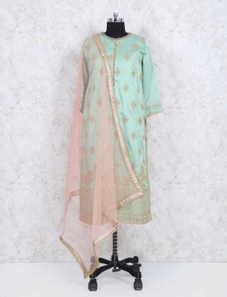 Green sharara suit in cotton silk fabric