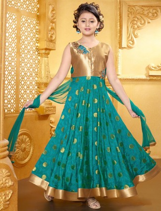 Green silk attractive wedding wear anarkali suit