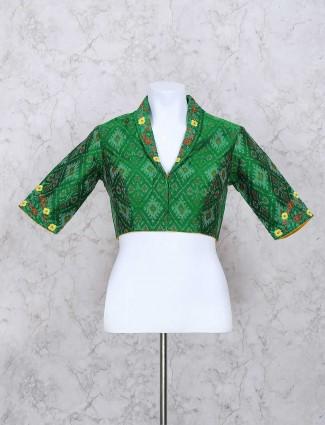 Green silk fabric ready made blouse