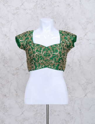 Green silk fabric ready made sequins blouse