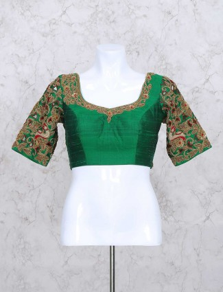 Green silk fabric round neck ready made blouse