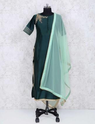 Green silk fabric sharara salwar suit