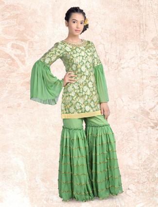 Green silk fabric sharara suit
