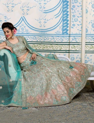 Green silk lehenga choli for wedding function