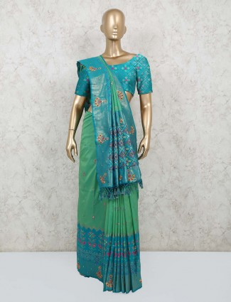 Green silk saree for wedding days