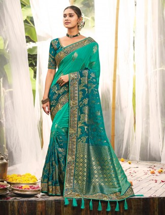 Green silk saree for wedding season