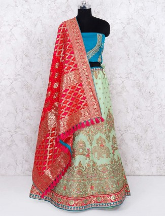 Green silk semi stitched pretty lehenga choli