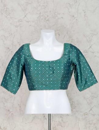 Green silk u neck ready made blouse