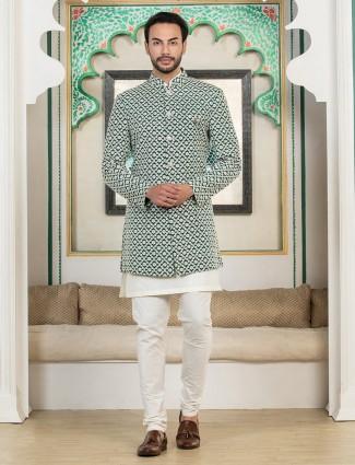 Green silk wedding double layer indo western