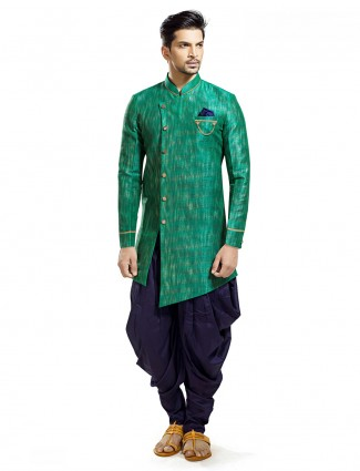 Green silk wedding wear classy kurta suit