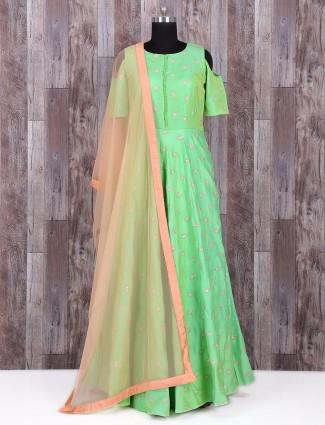 Green silk wedding wear long anarkali suit