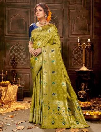 Green soft banarasi silk saree for weddings