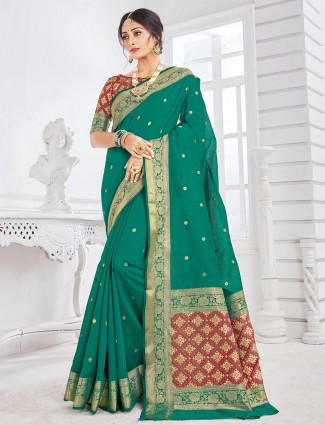 Green soft cotton saree for wedding with thread and zari weaving