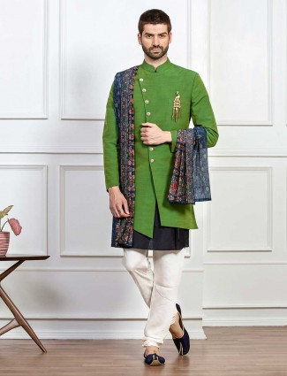 Green solid indo western for wedding