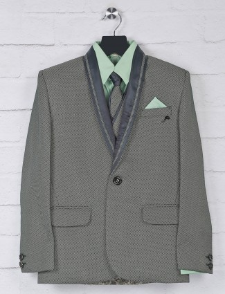 Green solid terry rayon party wear coat suit