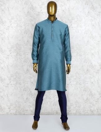 Green stand collar cotton fabric kurta suit