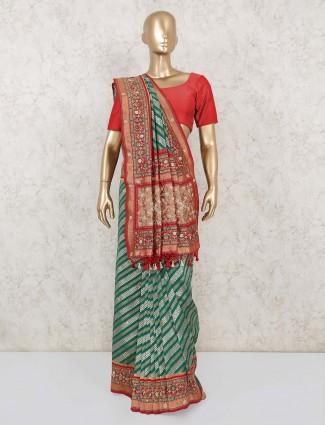 Green stripe pure banarasi silk saree